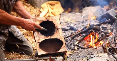 Making bowl in wilderness