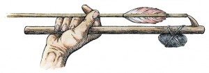 Upclose illustration of a hand holding an atlatl. Illustration by Neal Anderson